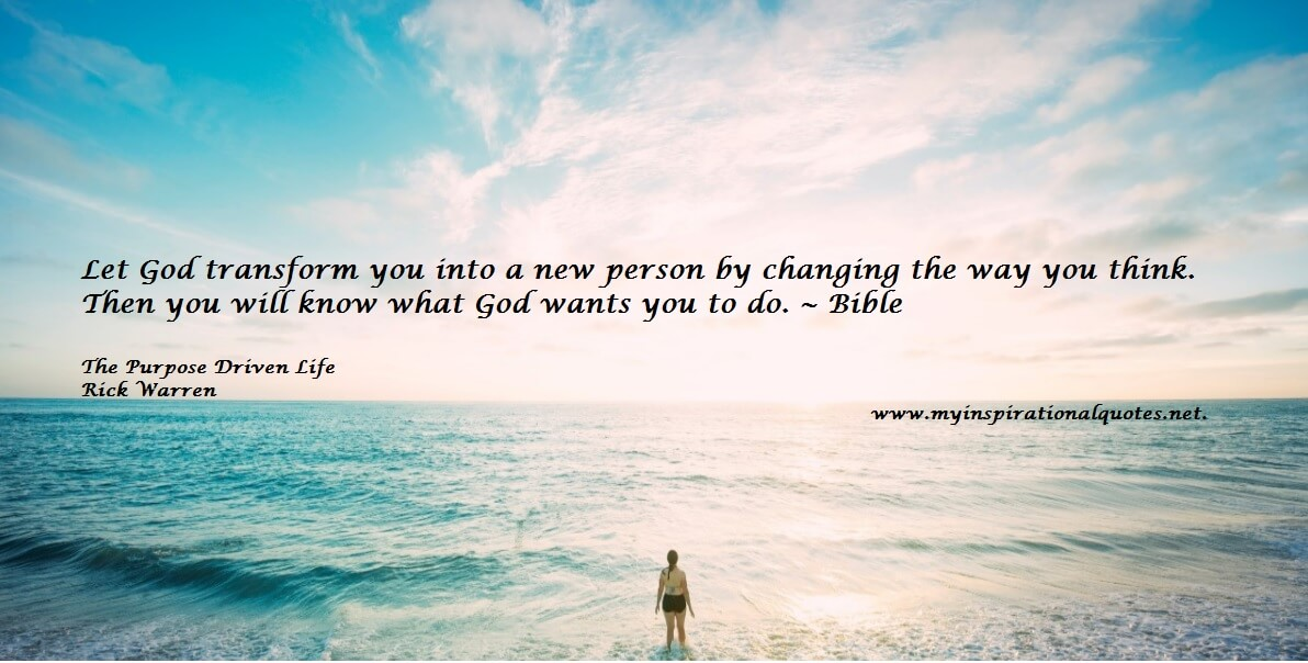 Let God transform you into a new person by changing the way you think.